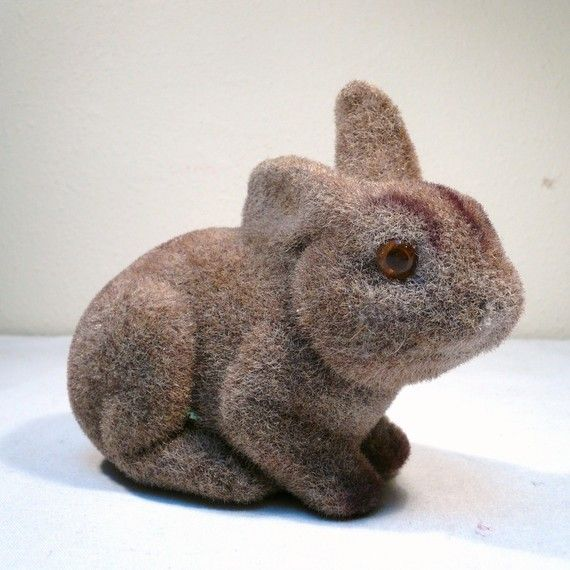 Easter wasn't complete without one of these in my basket: FUZZY BUNNY BANK / Vintage Rabbit Penny Bank