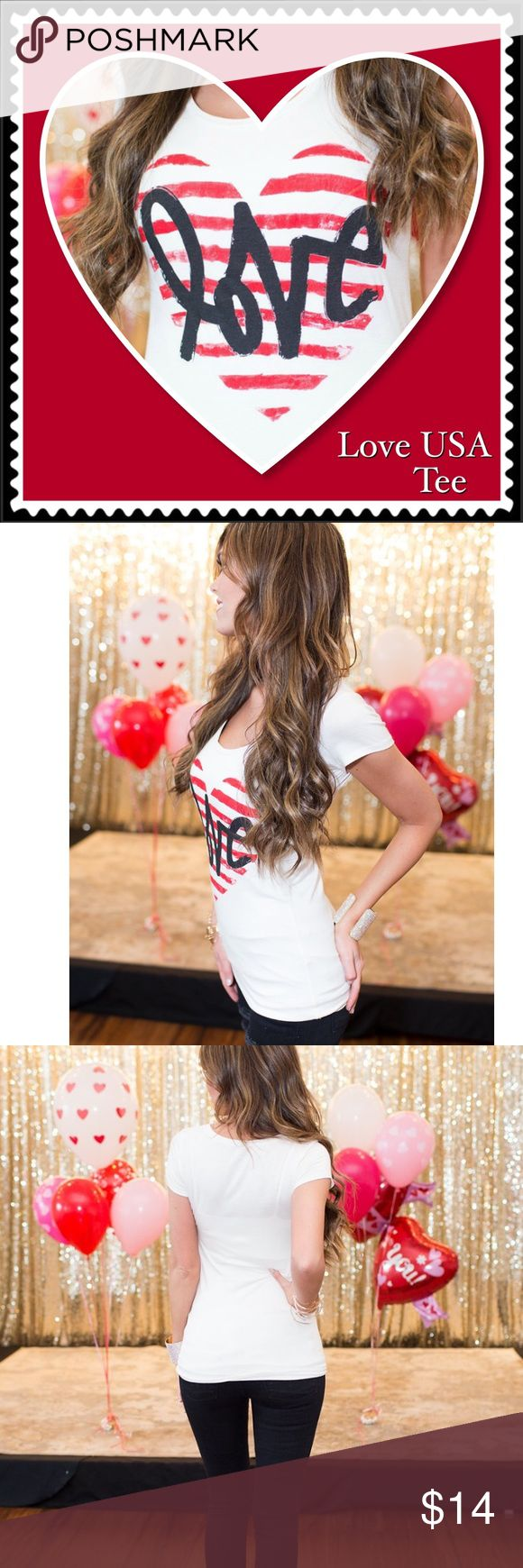 """Captivating Me Tee in Ivory/Red Red striped heart with dark blue word, """"love"""" written across the heart. Large size tee is not lined so you may want a camisole underneath. Have a relaxed, dress down day in this tee and pair of your favorite jeans. Material 95% Rayon, 5% Spandex. Approx 18"""" in length, Bust approx 34"""", Sleeves 1.5"""", Machine wash cold ColorBear Tops Tees - Short Sleeve"""
