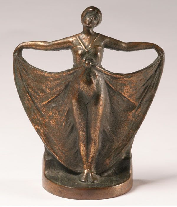 the female form in art deco – gorgeous art deco style bronze statue with silver plate finish – classic 1920s female figurine with lithe form and the sash, a classic deco motif.