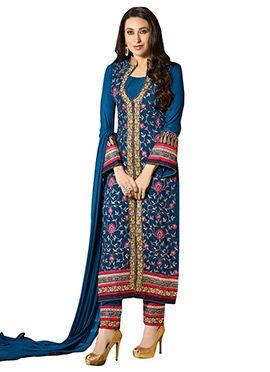 Karisma Kapoor Peacock Blue Straight Suit