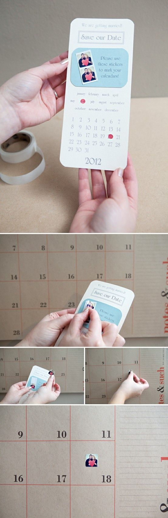 Save the date with photo stickers for guests to mark their calendars