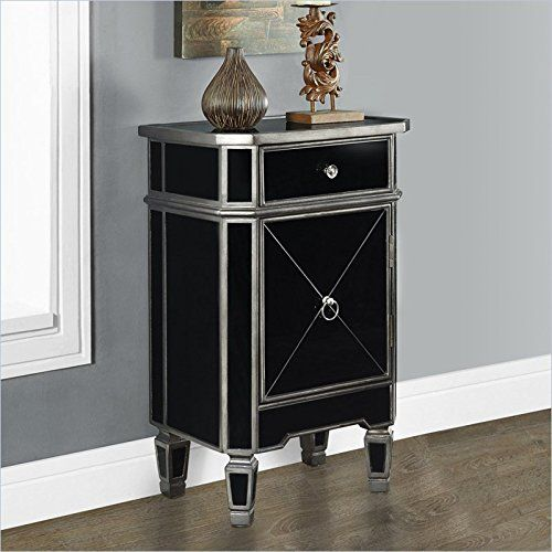 Monarch Specialties Brushed Charcoal Grey/Black Mirrored Accent Table, 29-Inch