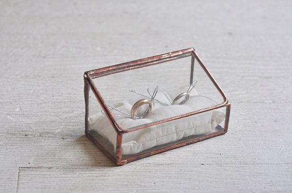 NEW Stained Glass Ring Holder - Hinged Glass Display Box - double ring - silver or copper - eco friendly - wedding