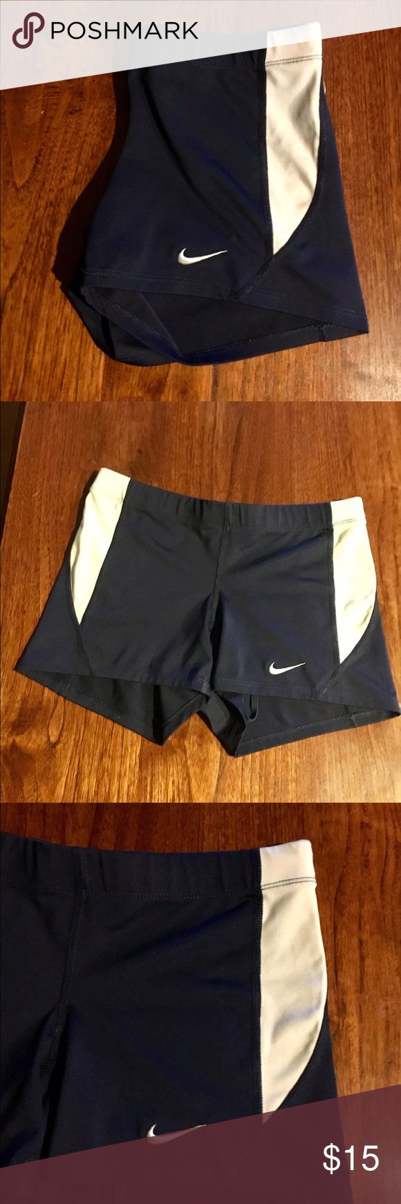 Nike dri fit compression shorts Navy and white Nike dri fit shorts in good condition. Nike Shorts