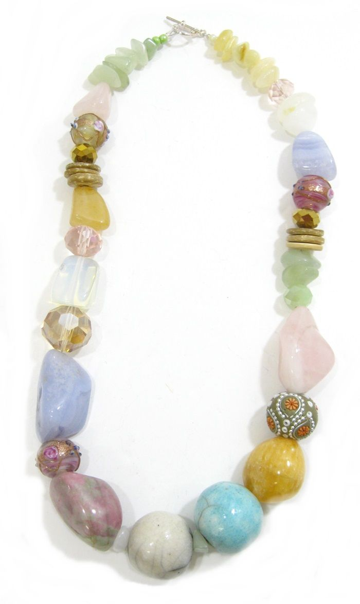 Pastel Ceramic and Stone Necklace.  Semi-precious and handmade ceramic beads. www.marzipan.co.za
