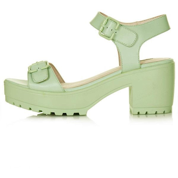 TOPSHOP NATION Two Part Chunky Sandals ($65) ❤ liked on Polyvore featuring shoes, sandals, green, heels, sandálias, mint, chunky heel sandals, green shoes, heeled sandals and mint green shoes