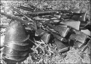 Armas y cascos daneses, rendidos