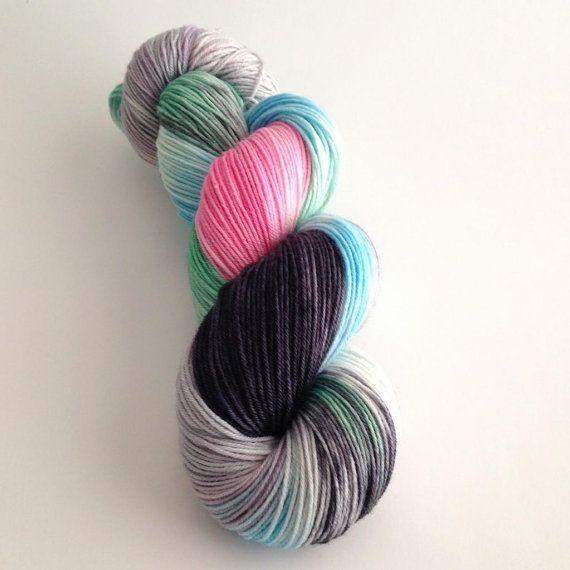 Hand Dyed Yarn - Pink Panda - Merino Nylon Sock Yarn Fingering   Yarn Loft