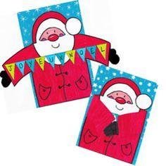 Carte de Noël à réaliser soi-même, bricolage facile et pas cher pour les fêtes. Père Noël à photocopier, colorier et coller pour les petits et les grands.                                                                                                                                                                                 Plus
