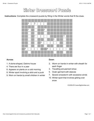 Winter crossword puzzle that changes each time you visit