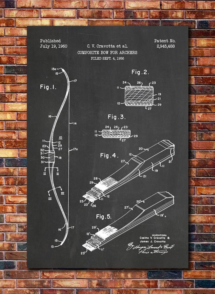 Composite Bow Patent Print Art 1960 by CatkumaPatentPress on Etsy