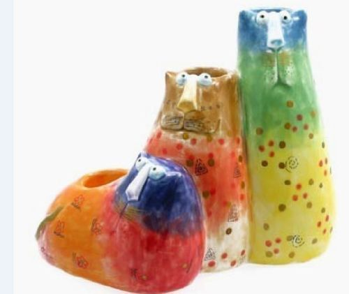 A JOY CATS HAND PAINTED MULTICOLOURED CANDLE HOLDER SIZE: 13CM X 15.5CM X 9CM NEW BUT NOT IN ORIGINAL BOX