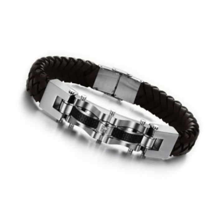 Post Included Aus Wide and to most international countries! >>>  Silver Cubic Zirconia Bracelet - Stainless Steel & Leather
