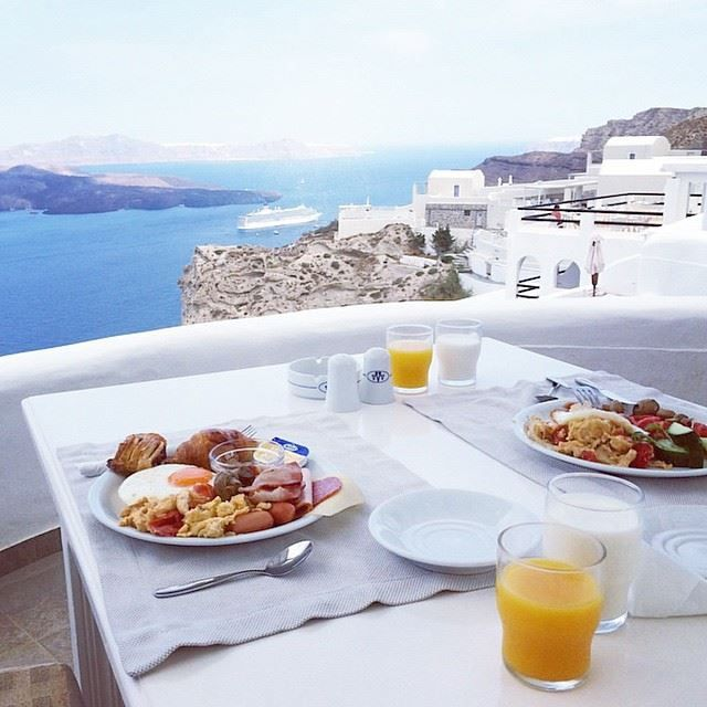 """Breakfast has never looked so good..."" Join us at Volcano View Hotel Santorini for a well-deserved morning treat!  Thank you ancientrepublic at Instagram for sharing this lovely pic of your holidays with us!"