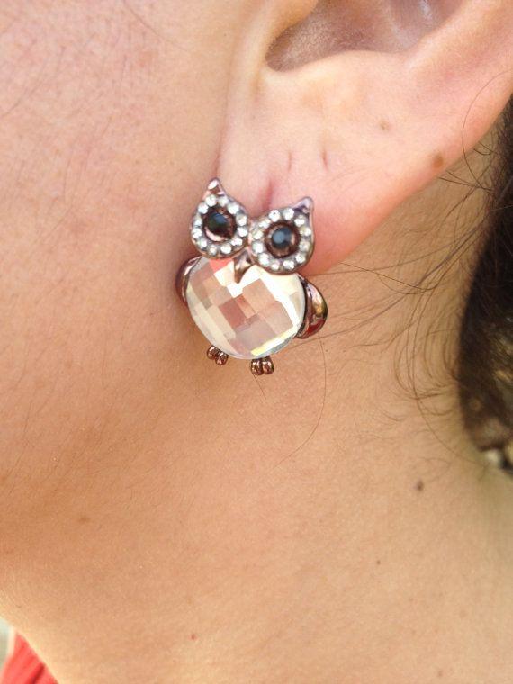 Earring, Owl Earrings, White  Earring, owl jewelry, Owl, Brass Owl, Brass Earring, gift for here