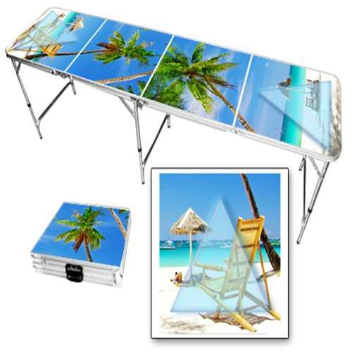 Sunny beach beer pong table.
