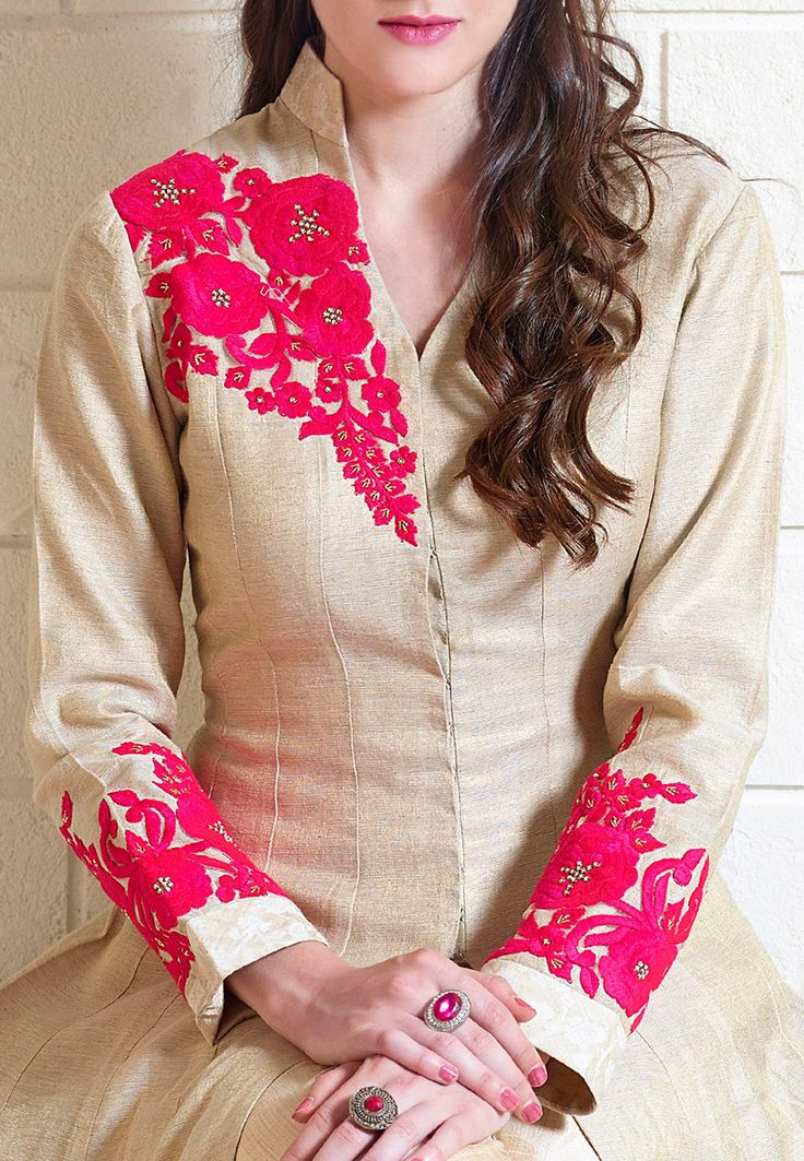 Buy Embroidered Art silk Jacket Style Abaya Suit in Beige online, work: Embroidered, color: Beige, usage: Party, category: Salwar Kameez, fabric: Art Silk, price: $200.00, item code: KBW121, gender: women, brand: Utsav