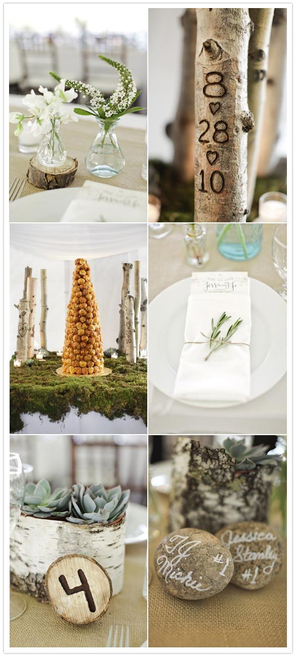 earthy wedding - love the date etched in the tree...pretty details.