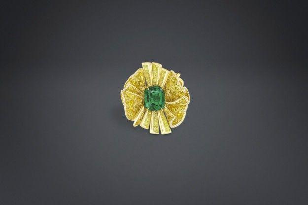 Anello con diamanti gialli e smeraldo Archi Dior