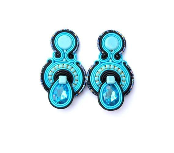 Blue Clip On Earrings, Soutache Earrings, Clip Earrings, Turquoise Earrings, Blue Turquoise Earrings, Handmade Earrings, Soutache Jewelry