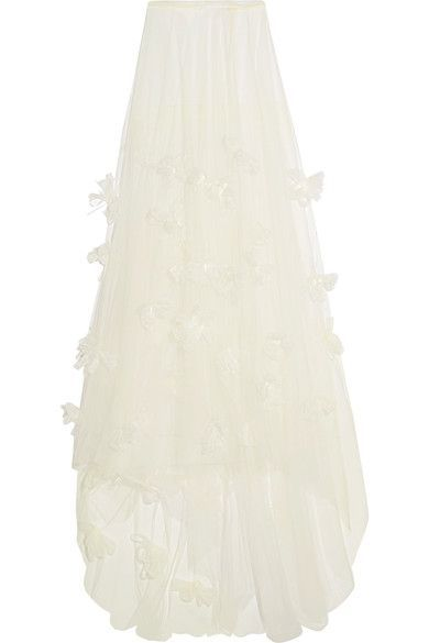 Halfpenny London - Ozzie Organza And Feather-appliquéd Silk-blend Tulle Maxi Skirt - White - UK14