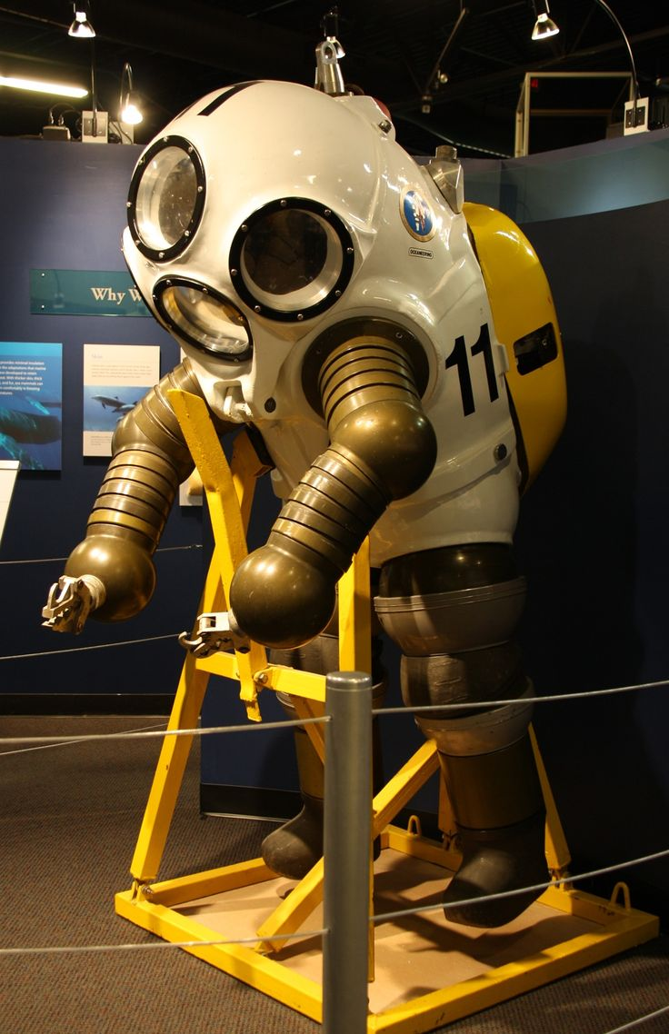 A hard-shelled atmospheric diving suit called a JIM suit
