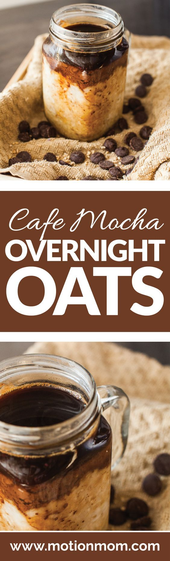 Cafe Mocha Overnight Oats. Only a few ingredients are needed for this overnight oat recipe! All clean eating ingredients are used for this healthy coffee flavored breakfast. Pin now to make this later!