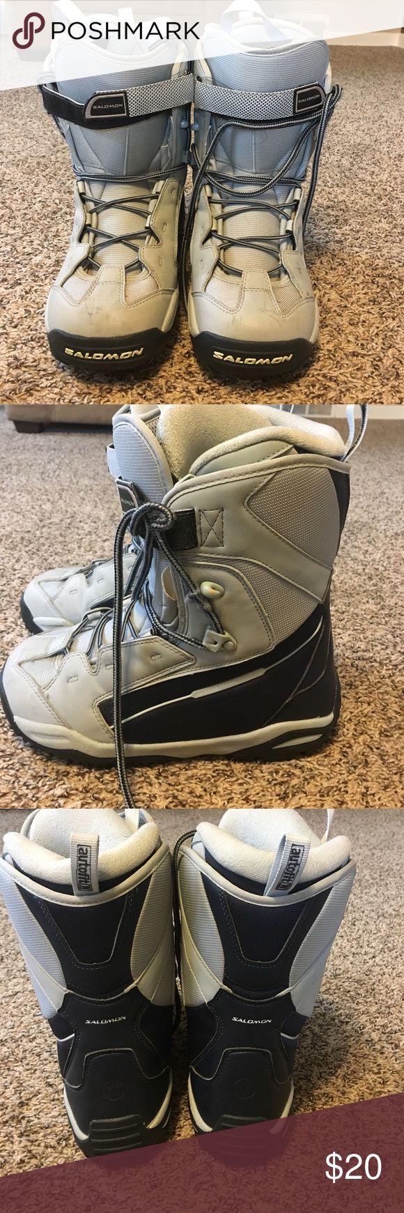 Salomon women's Snowboarding boots size 8 Salomon snowboarding boots. Used but still great to use. Any questions please ask! Salomon Shoes Winter & Rain Boots