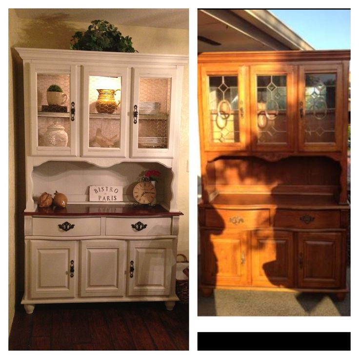 1990s China Hutch Makeover Wanna Do This With My To Match Dining Set