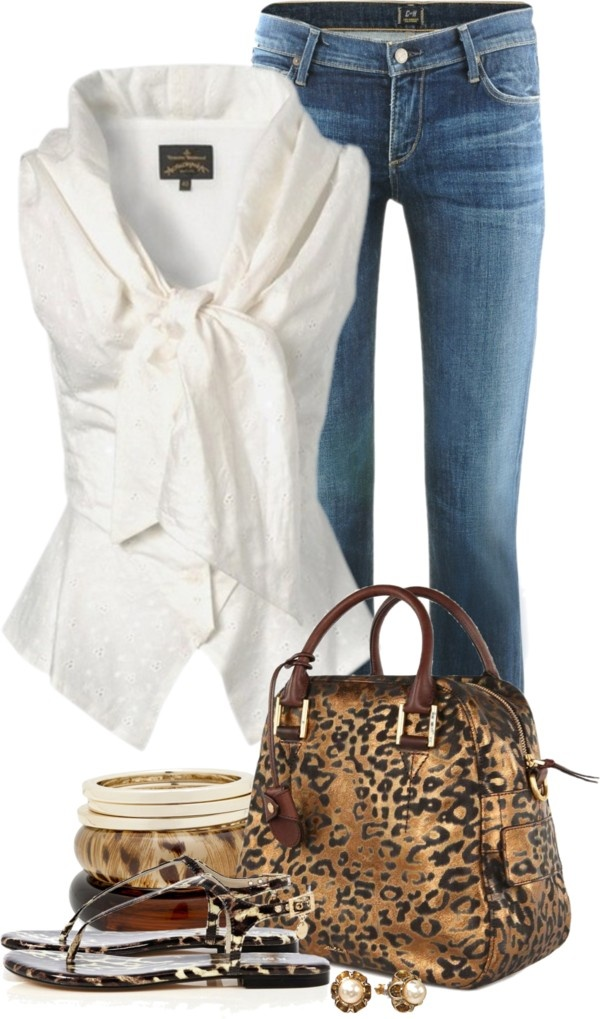 """Trio with leopard print metallic bag"" by tammylo-12 on Polyvore"