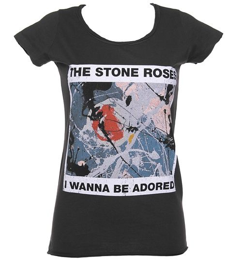 Ladies Stone Roses Wanna Be Adored Charcoal T-Shirt