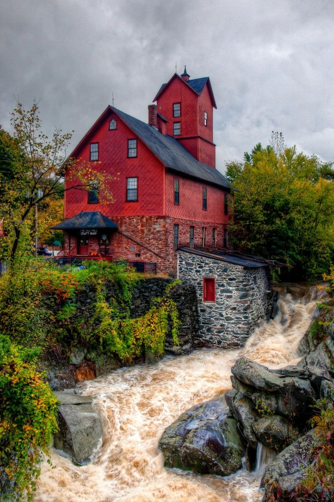 Grist Mill, Jericho, Vermont - The Old Grist Mill in Jerico Vermont in flood after 6 inches of rain in 24 hours.  Nearly every valley in central Vermont is flooded.