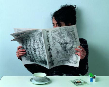 """JOCHEM HENDRICKS - Werkauswahl Zeitung / """"This newspaper has already been read. The eye movements while reading were recorded, digitized and printed. It is something visible from the otherwise invisible process of reading, a trail of information acquisition remains."""""""