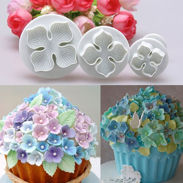 3pcs Hydrangea Fondant Cake Decorating Sugar Craft Plunger Cutter Flower Mold Free Shipping #ZH163
