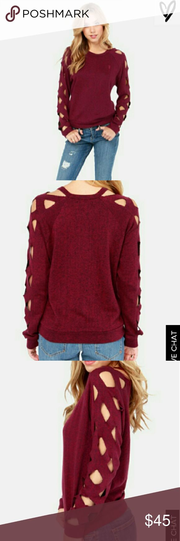 Obey Propaganda Cut Out Gate keeper sweater! Holding the key to the most stylish outfits this season is the Obey Gate Keeper Tibetan Red Cutout Sweater!  Wine red and light black yarn form a fine marl knit constructing this light weight pullover sweatshirt with diamond cutout details on top of the long sleeves that add a bit of edge. Embroidered logo at front. Unlined. Made from 55% Cotton, 45% Polyester. Hand Wash Cold. Obey propaganda  Tops Sweatshirts & Hoodies