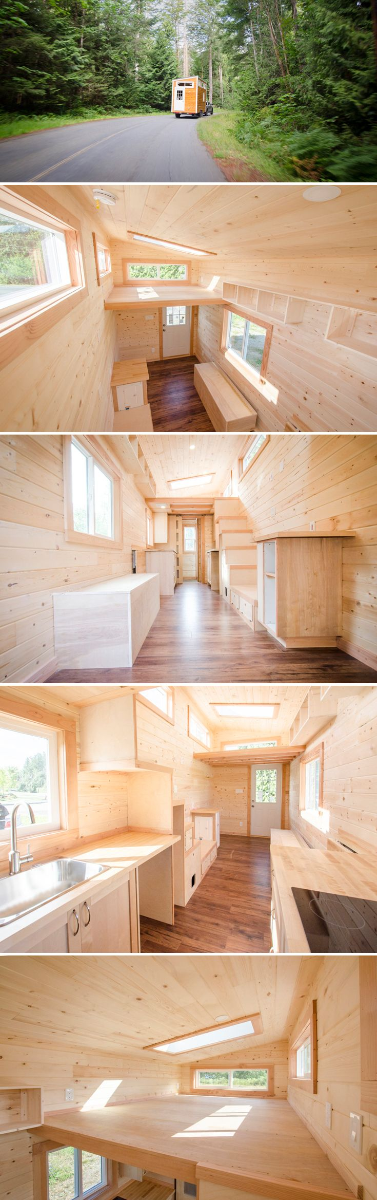 The Warbler is a 24' tiny house on wheels from British Columbia-based Rewild Homes. Clerestory windows and two skylights allow for plentiful natural light.