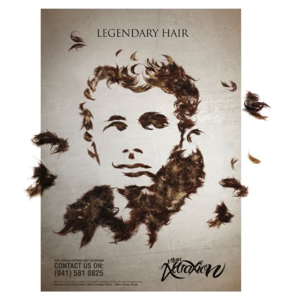 "The aim of this campaign was to challenge the conventional approach adopted by most hair salons and to create something that would turn heads. Combining the idea of hair trimmings having fallen to the ground and celebrities known for their iconic hairstyles. Marilyn Monroe and James Dean were created into works of hair art with the campaign headlines of ""Legendary hair"" and ""Hair to die for"". Unconventional in its approach & application, we applied the vinyl floor graphics in supermarkets."