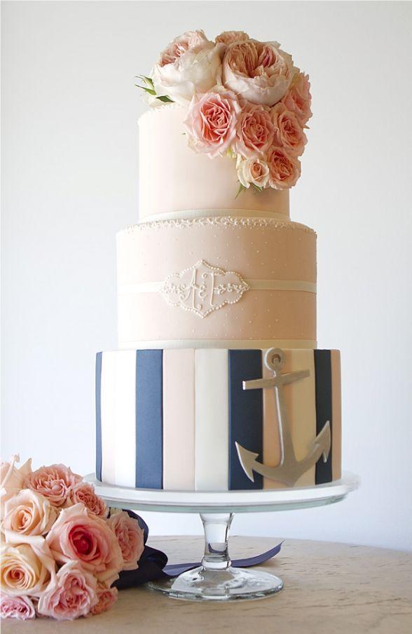 Wedding Cake Inspiration: Pink & Navy Nautical