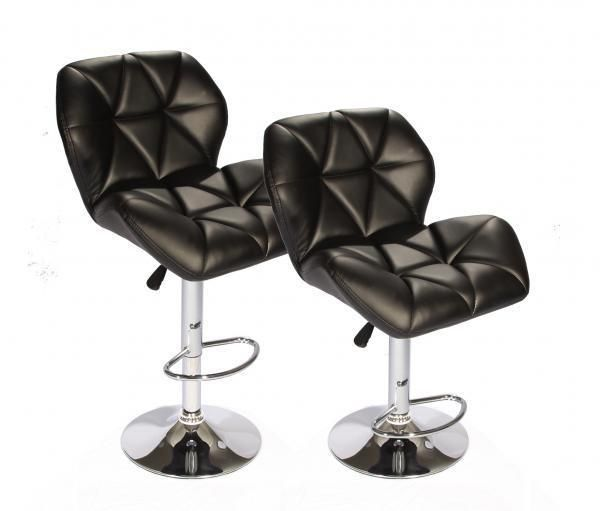 Black SET of (2) Bar Stools Leather Hydraulic Swivel Dinning Chair Barstools B01 #BestOffice