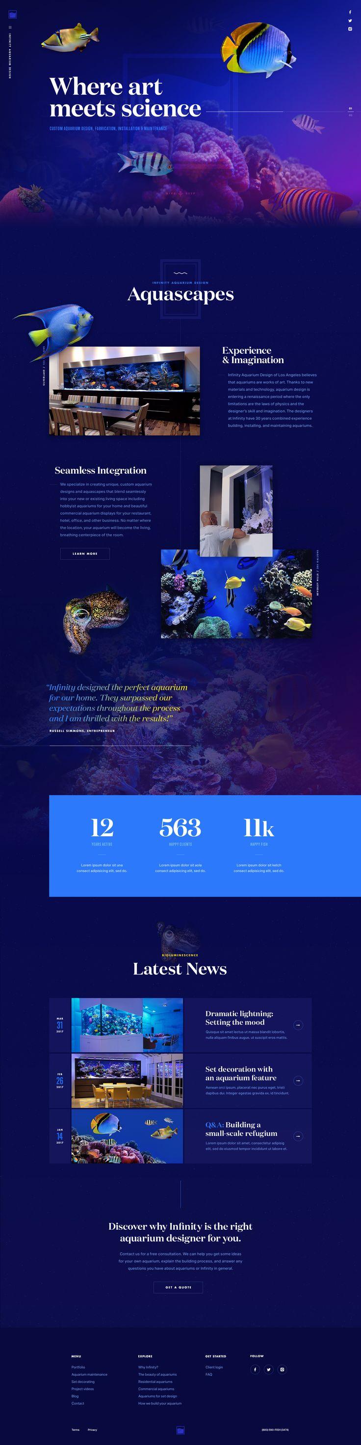 Aquarium Design & Installation – Nautical Ui design concept and visual identity by Mason Yarnell.