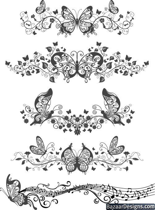Floral patterns with butterflies Vector Illustration (.eps)