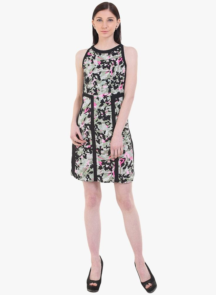 Short dress in camouflage print with black contrast panels  Rs.1,899.00