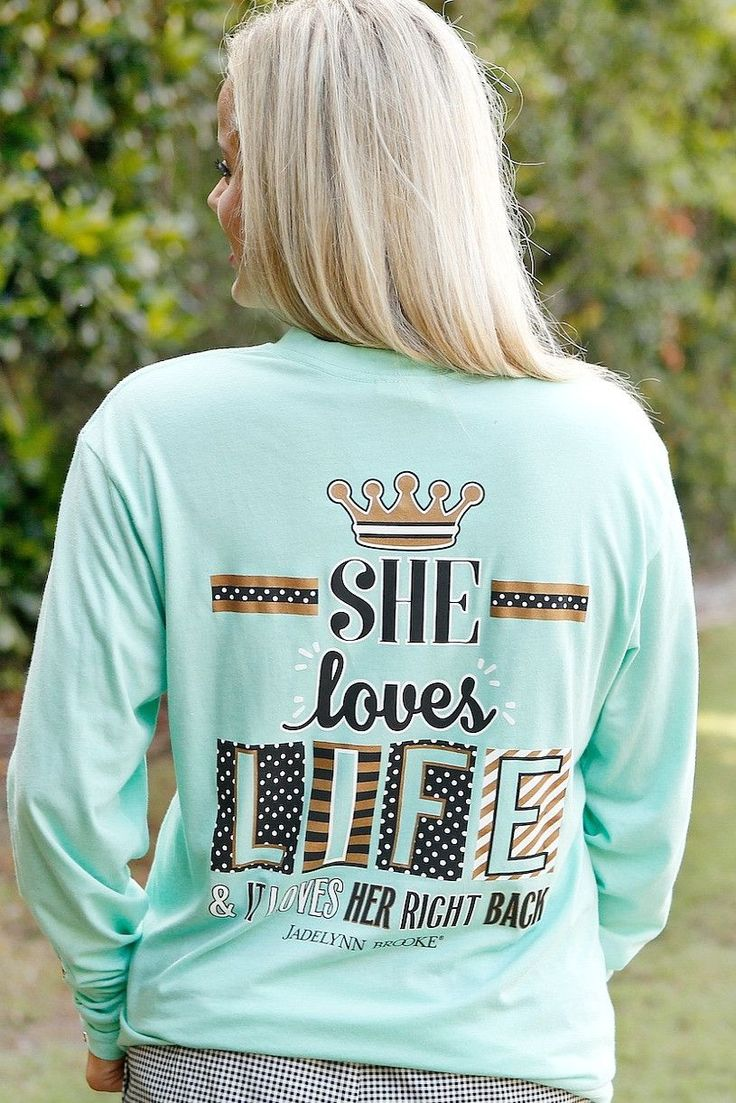 "NEW!! ""She Loves Life"" - Long Sleeve - Perfect long sleeve for the fall season! Get yours online now at WWW.JADELYNNBROOKE.COM"
