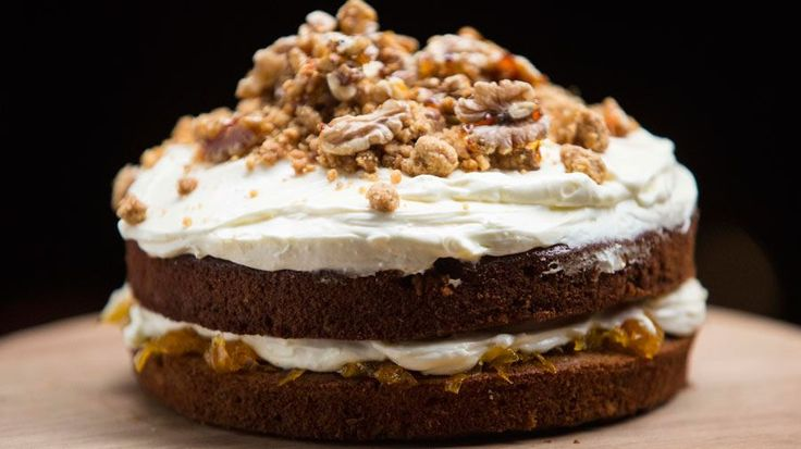 Carrot Cake with Candied Walnuts and a Walnut Crumb