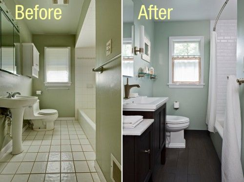 Before and after bathrooms - removing old tiles
