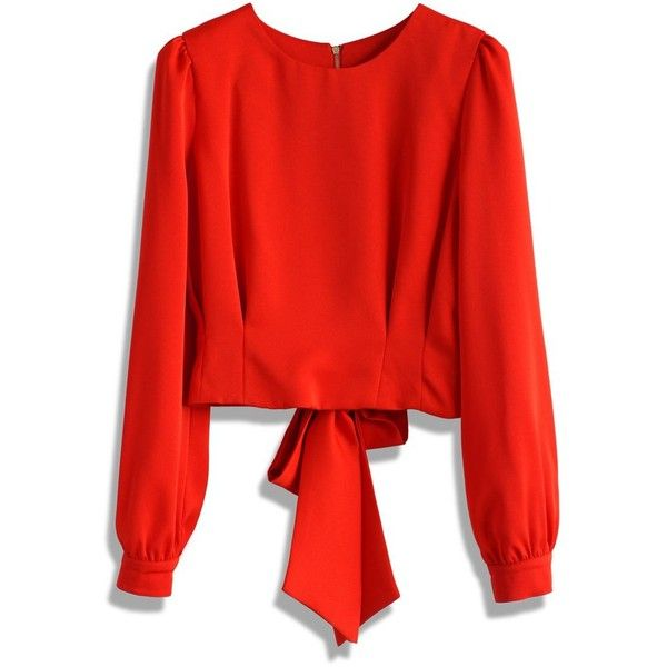 Chicwish Tie a Bow Cropped Top in Red (52 CAD) ❤ liked on Polyvore featuring red