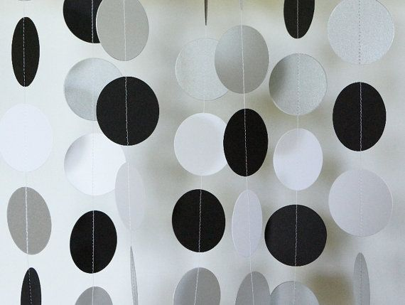 Black - Silver - White Paper Garland, Birthday Party, Anniversary Party…