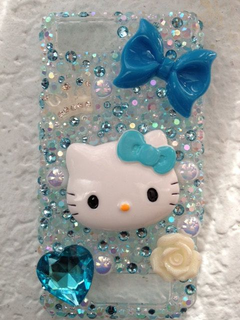 Bling Blue Hello Kitty Droid X Phone Case by DesignsByHuuR on Etsy