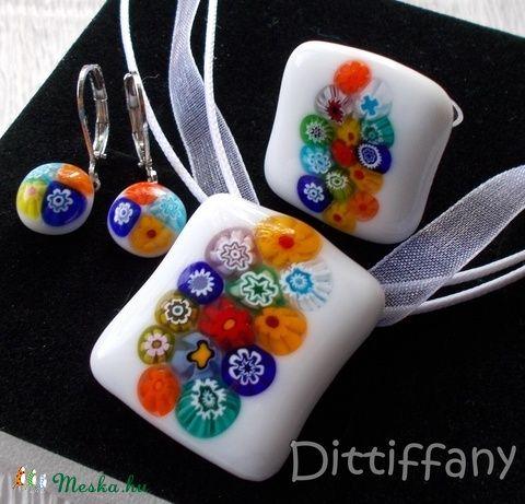 Nyári virágzuhatag üvegékszer, ajándék nőnapra, névnapra, születésnapra. (Dittiffany) - Meska.hu