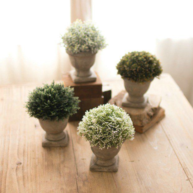 Artificial Potted Topiary Plants With Urn, Set of 4
